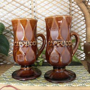 Vintage Brown Cappuccino Coffee Mug Set